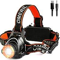Lampade da Testa LED, OMERIL Lampada Frontale Ricaricabile USB 2000 Lumen Luce Frontale Zoomabile 3 Modalità Torcia da Testa per Campeggio, Corsa, Speleologia, Pesca, Ciclismo