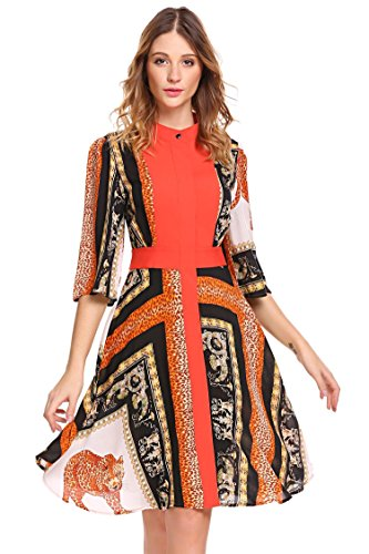 orange a line dress - 6