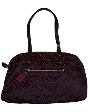 Women's Tommy Hilfiger Satchel Style Handbag (Burgundy/Navy Large Logo)