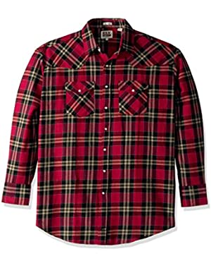 Men's Size Long Sleeve Brawny Flannel Shirt- Tall,