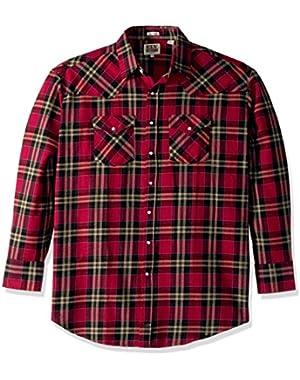 Men's Size Long Sleeve Brawny Flannel Shirt- Tall,