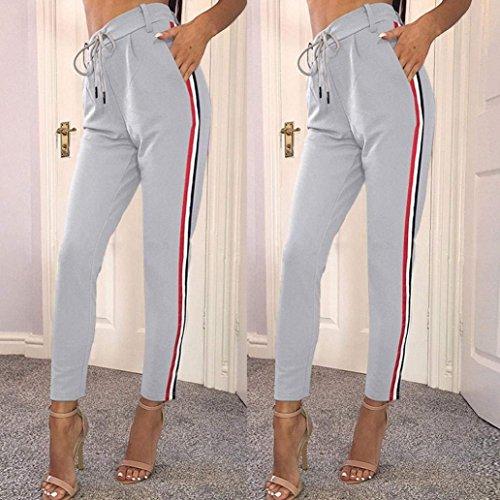 Taille Pantalons Verticales Femme Casual Elégante Loisirs Rayures Manche Uni Jogging Printemps Pantalon Grau Fit Avec Chino De Haute Automne Poches Mode Sport Dame Slim zxwpHqw6