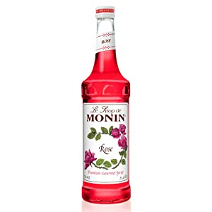 Monin - Rose Syrup, Elegant and Subtle, Great for Cocktails, Mocktails, and Soda, Gluten-Free, Non-GMO (750 ml)