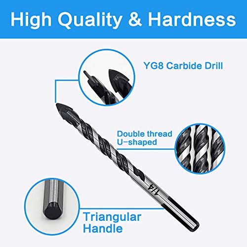 10-Piece Masonry Drill Bits Set for Tile Glass Ceramic Brick Wood 1//8 to 1//2 Inch Drilling Bits with Triangle Handle YG8 Tungsten Steel Alloy Tip.(Black)
