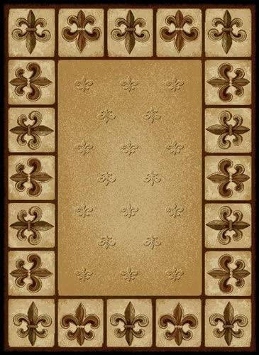 United Weavers of America China Garden Fleur de Lys Area Rug – 7ft. 10in. x 10ft. 6in., Multicolor, Olefin Rug with Southwestern Pattern, Dense Pile
