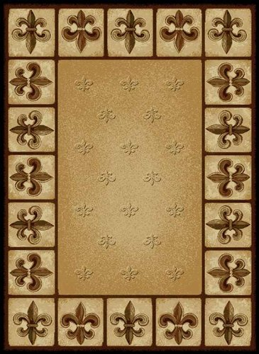 United Weavers of America China Garden Fleur de Lys Area Rug - 7ft. 10in. x 10ft. 6in., Multicolor, Olefin Rug with Southwestern Pattern, Dense Pile (De Lis Fleur Rug)