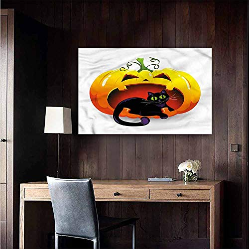 Gabriesl Self Adhesive Wallpaper for Home Bedroom Decor Pumpkin Halloween Theme Black Cat Men's Room Wall Size : W48 x H32 ()