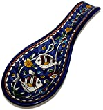 Blue flowers with Fish - Armenian hand painted cooking Spoon Rest / Ladle Holder - Large with deep Round Cup part (10 inches long by 4 inches across and 1 inch deep) - Asfour Outlet Trademark