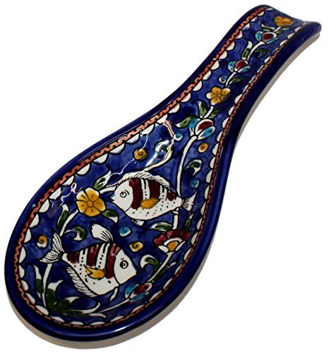 Blue flowers with Fish - Armenian hand painted cooking Spoon Rest / Ladle Holder - Large with deep Round Cup part (10 inches long by 4 inches across and 1 inch deep) - Asfour Outlet Trademark by Holy Land Market