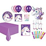 PartyZone2018 Unicorn Party Supplies Cups , Plates, Banner, Invitation , Balloons Headband and Much More ! (Pretty Purple Unicorn 8kids)