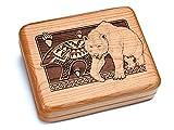 Heartwood Creations 6×5 Box With Double Pocket Knives – Petroglyphs Bear