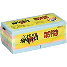 School Smart Removable Self Stick Notes - 3 x 3 inches - 12 Pads of 100 Sheets - Assorted Pastels