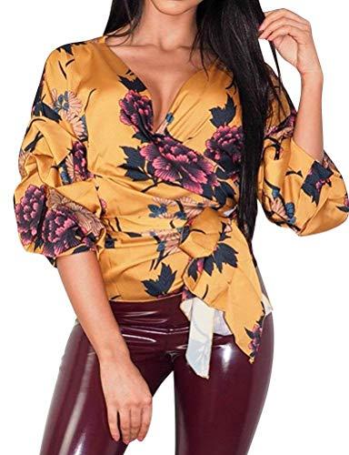 paules Haut Printemps Blouse Blouse Jaune Cou Elgante Chic Mode Casual Fit Bandage Top Bowknot Chemise Fleur Slim Branch Longues Impression Femme Nues Manches V AwIgZ