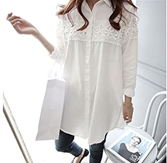 540de34c90dbd Aboutbaby Lace Patch-Worked Maternity Shirts Long Sleeve Loose Blouses Tops  For Pregnant Women Spring Autumn Pregnancy Clothing - Xxl, White:  Amazon.in: ...