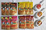 Hawaiian Sun Tropical Pancake Lovers Bundle Set - 3 Strawberry Guava, 3 Banana Macadamia, 3 Chocolate Macadamia, 3 Pineapple Coconut 12 Pancake Mixes Total Plus Coconut, Lilikoi and Guava Syrups.