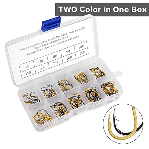 AotengStar Black Gold Octopus Fishing Hooks Tackle Freshwater Saltwater Fish Hooks Assortment with 10 Different Sizes Include Fishhooks Box