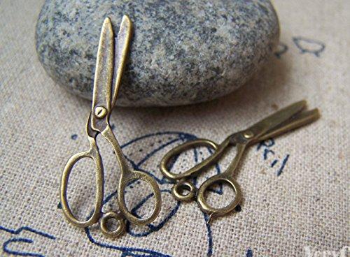 (20 pcs of Antique Bronze Barber Shop Stylist Scissors Charms 12mmx30mm (CB024))
