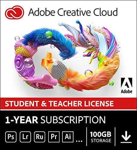 Adobe Student & Teacher Edition Creative Cloud | Student/Teacher Validation Required |12-month Subscription with auto-renewal, billed monthly, PC/Mac