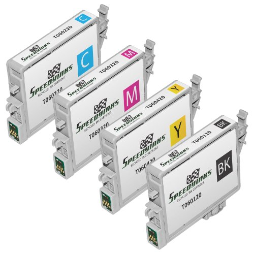 Speedy Inks Remanufactured Ink Cartridge Replacement for Epson T060220 ( Black,Cyan,Magenta,Yellow , 4-Pack ()