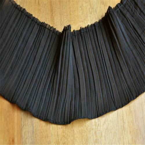 FidgetKute Chiffon Ruffle Lace Edge Trim Pleated Ribbon Sewing Fabric Collar 4.33'' Width Black 1 Yard