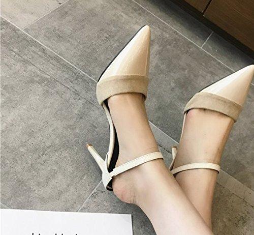 Ajunr Moda/elegante/Transpirable/Sandalias zapatos Retro Casual 8cm los zapatos de tacón alto Fine con albaricoque ,39 37