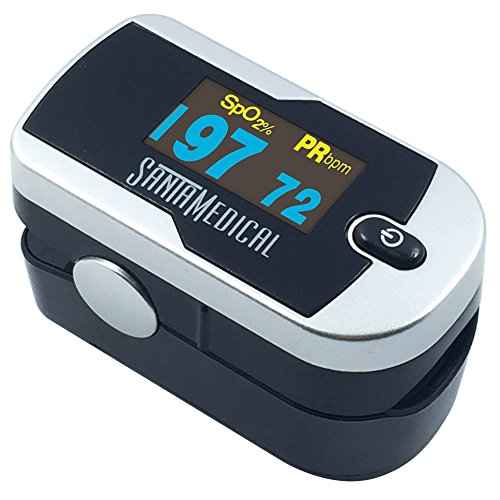 ion 2 OLED Fingertip Pulse Oximeter Oximetry Blood Oxygen Saturation Monitor with batteries and lanyard - Silver (Pulse Oximetry)
