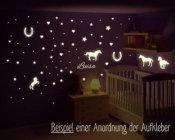 Wandtattoo Pferde, leuchtende Pferde mit Wunschname, leuchtende ...