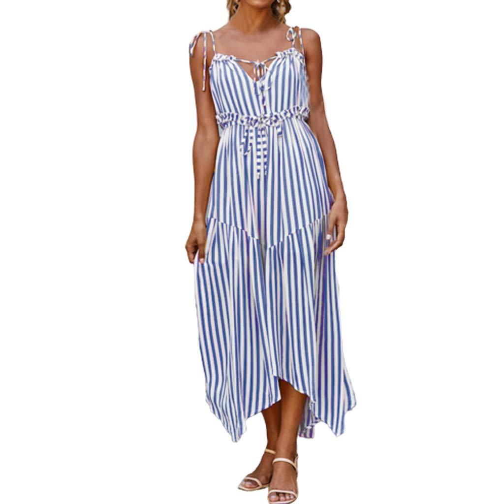 MINGXING Damen Kleider ღ Reizvoller Streifen Freizeitkleid Mode Slim Ärmelloses Sommerkleid Vintage Klassisch Slim Cocktailkleid Unregelmäßiger Süß Strandkleid