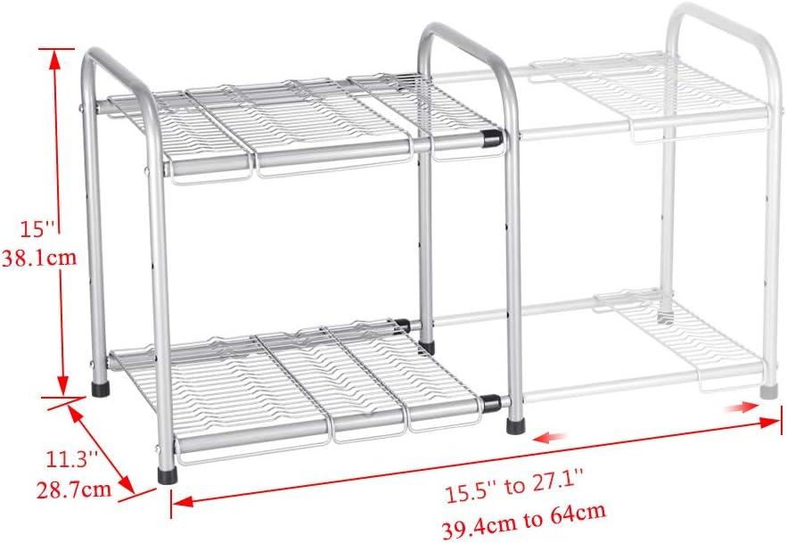NEX Unterschrankregal 2 Etagen Flexibel K/üchenschrank Organizer Erweiterbar von 39,4cm bis 64cm H/öhe verstellbar Sliver
