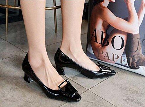 bajo Amarillo Zapatos Negros 39 Talla Cuadrados Mujeres para Color de 34 39 Tacón Zapatos Rojo Negro Negro Tamaño W4n0x