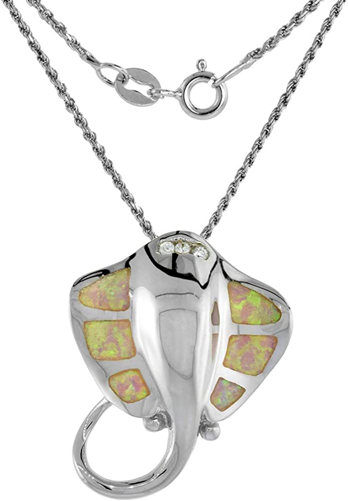 Sterling Silver Synthetic Opal Stingray Necklace in Pink Blue Excellence Over item handling