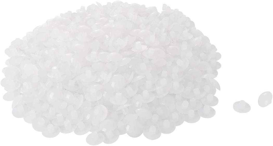 uxcell 300pcs 6mm White Stem Bumpers Glide, Patio Outdoor Furniture Feet Glass Table Top Anti-collision Embedded