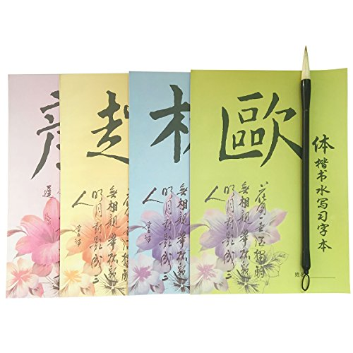 Re-writable Water Writing Chinese Calligraphy Exercise Book Brush For Beginner Quick Drying Fabric Cloth Paper for Beginners Practice Set (5 Items)