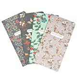 Best M Floral Travel Journal Refills Blank Travelers Notebook Filler Kraft Papers Journal Dairy Inserts 4 Pack Set (Floral Set 2)