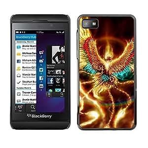 TECHCASE**Cubierta de la caja de protección la piel dura para el ** Blackberry Z10 ** Golden Shiny Phoenix Mystical Creature Wings