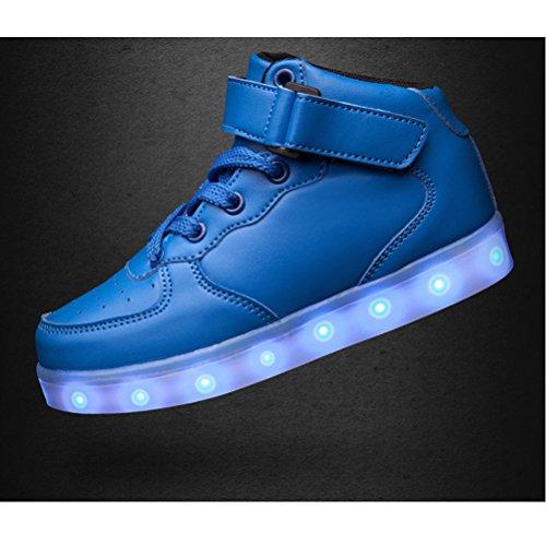 SAGUARO 7 Farben LED Schuhe USB Aufladen Leuchtschuhe Licht Blinkschuhe Leuchtende Sport Sneaker Light Up Turnschuhe Damen Herren Kinder A-Hoch Oben-Blau