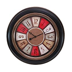 Kiera Grace Color Wheel Wall Clock, 20-Inch, 2-Inch Deep, Black with Brushed Copper Bezel and Trim