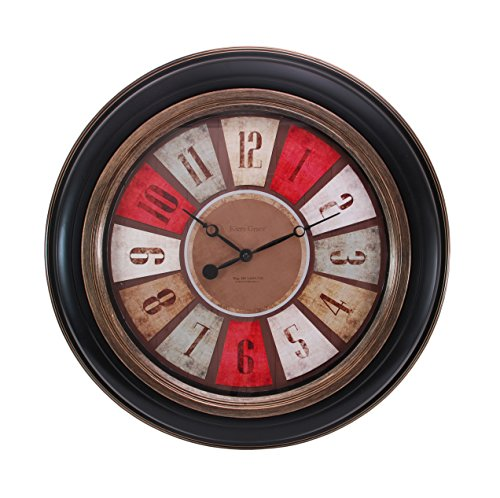 Cheap Kiera Grace Color Wheel Wall Clock, 20-Inch, 2-Inch Deep, Black with Brushed Copper Bezel and Trim