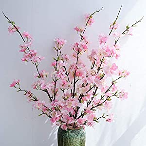 YUYAO Artificial Cherry Blossom Flowers, 4pcs Peach Branches Silk Tall Fake Flower Arrangements for Home Wedding Decoration,41inch (Pink) 47
