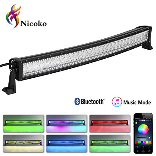 Nicoko 32 Inch 180W Curved LED Light Bar with Over 300 Flashing Chasing Modes Spot Flood Combo Beam Waterproof Dual Row LED Work Diving Lights for Off Road Jeep ATV AWD SUV 4WD 4x4 Pickup