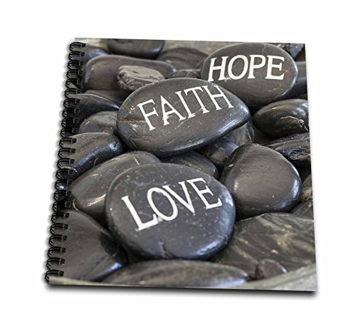 3dRose Andrea Haase Still Life Photography - Black Pebble With Engraved Words Love Faith Hope - Memory Book 12 x 12 inch (db_268540_2)