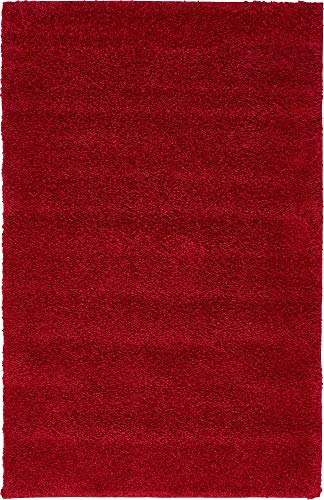 Unique Loom Solo Collection Solid Plush Kids Red Area Rug (3' 3 x 5' 3) (Red Rugs Area)
