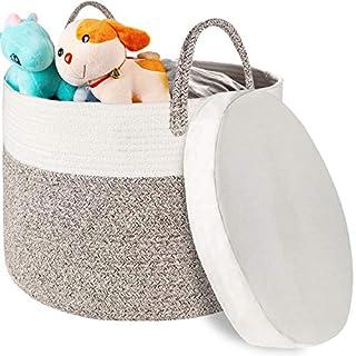 "Zannaki XXXL Large Blanket Basket, Extra Big 22""x 22"" x13.8"" Woven Cotton Rope Laundry Basket with Individual Hanldles, Jumbo Size Toys Storage Bins, Baby Nursery Hamper with Water-Proof Cushion Base"