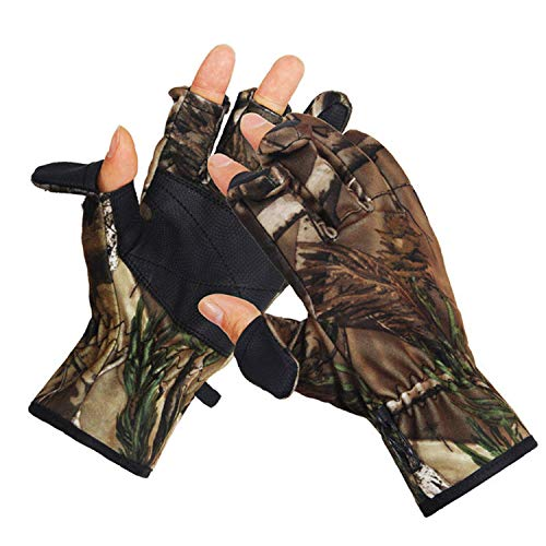 Eamber Camouflage Hunting Gloves Full Finger/Fingerless Gloves Pro Anti-Slip Camo Realtree Glove Archery Accessories Hunting Outdoors (M) (XL Size) (Best Bow Hunting Gloves)