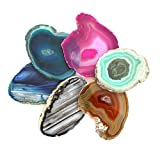 """Mixed Colors Agate Slices - Set of 6 - A Grade ~3 - 5"""" - Brazilian Agate And Crystals - Art Crafts - Geode Agate Slice with Rock Paradise Exclusive COA"""