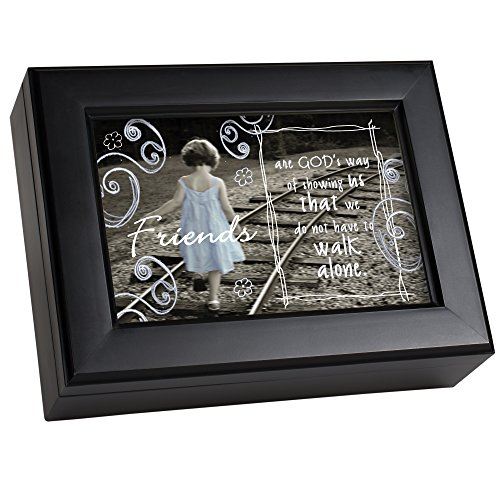 Cottage Garden Friends Gods Way of Showing Matte Black Jewelry Music Box Plays What Friends are for