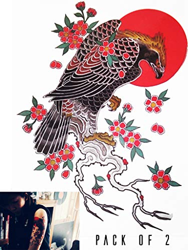 Novu Ink Japanese Eagle Rising Sun Temporary Tattoos | PACK OF 2 | Fake Tattoos | Art Design Transfers/Stickers | For Body, Arm, Leg etc | (23cm x 16cm) (Kanji Tattoos)