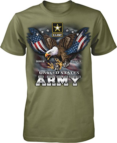 US Army, Since 1775, Eagle with American Flag Wings Men's T-shirt, NOFO Clothing Co. L Moss (Eagle Wing Shirt)