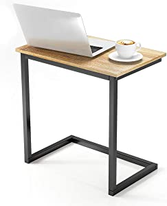 VIPEK Sofa Side End Table C Wood Table Snack Coffee Tray Side Table Notebook Laptop Holder Multiple Stand Reading Desk Gray Oak Color 26.4x22x14 Inch for Small Space Living Room Furniture