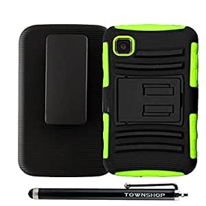 For LG Optimus Dynamic II L39C Neon Green/Black Rugged Impact Armor Hybrid Kickstand Cover with Belt Clip Holster Case + Stylus Pen